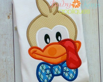 Bowtie Turkey Applique Design 4x4, 5x7, 6x10, 8x8