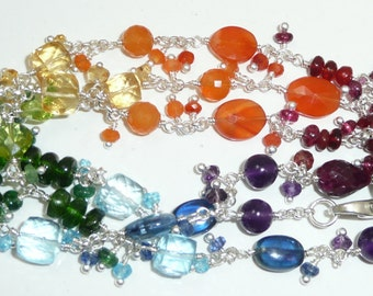 Lumiere - Chakra influenced convertible necklace of genuine gemstones and sterling silver