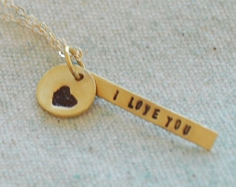 I LOVE YOU necklace, stick pendant with heart, eco-friendly silver. Handcrafted by Chocolate and Steel