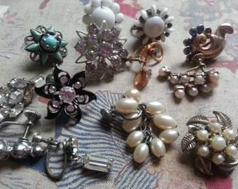 Twelve Single Clip on Earrings to Repurpose ... Rhinestones Faux Pearl Glass