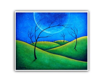 Abstract Landscape Art Print, Going Beyond - Minimalist Modern Contemporary Artwork Bold Surreal Style, Size Options: 8x10 11x14 16x20 20x24