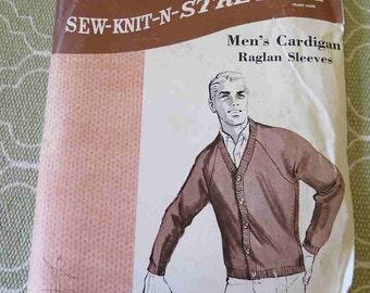 Vintage Sew Knit N Stretch 111 Mens Cardigan Sweater Sewign Pattern sz S M L  XL