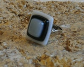 Grey, Black and White Stacked Fused Glass Silver Plated Ring