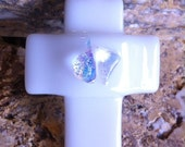 White Fused Dichroic Glass Cross Pendant With Black Silk Necklace