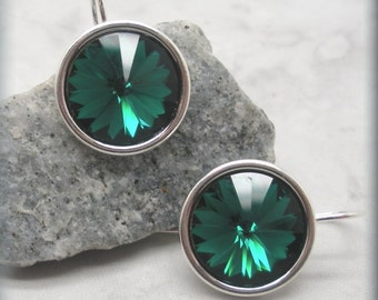 Emerald Rivoli Earrings, May Birthstone Earrings, Swarovski Crystal Earrings, Sterling Silver, Green Earrings, Bridesmaid Gift (SE504)