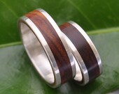 White Gold Wood Wedding Band - Lados Nambaro Cocobolo Wood Ring - 14k recycled white gold and wood wedding ring, mens wood ring