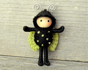 Ladybug Green With Wings Bendy Doll toy