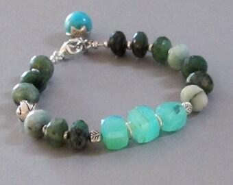 Emerald Peruvian Opal Bracelet Sterling Silver DJStrang Gemstone Boho Cottage Chic Blue Green Stone