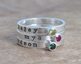 Stacking Ring With Stone Name Ring Personalized Stackable Mommy Ring Gemstone Birthstone