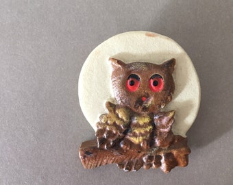 Vintage Owl Brooch Pin FREE SHIPPING