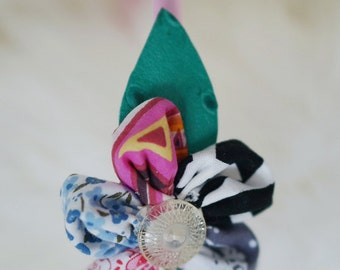 Multicolor Fabric Petals Flower Headband with Leather Leaves #2