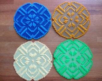 Flower Pot, Candle Mat Doily Your Color Choice Plastic Canvas