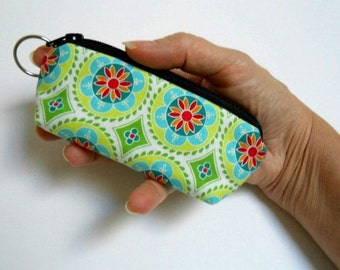 Mini Key Chain Zipper Pouch ECO Friendly Padded Lip Balm Case NEW Aqua Green Madhuri Medallions