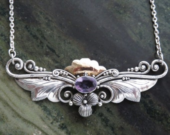 SALE THROUGH JULY 2017 Nouveau Arts and Crafts Silver and Amethyst Necklace