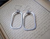 Silver Aluminum Earrings, rectangle hoop earrings, unique hoop earrings, big earrings, comfortable earrings, hypoallergenic earrings, E19