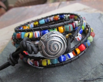 Beaded Leather Wrap Bracelet African Trade Bead Bracelet Silver Button Bracelet Hippie Jewelry Sundance Style Bracelet Boho Wrap Bracelet