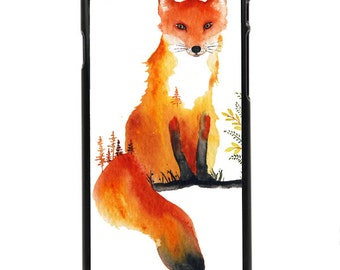 """Phone Case """"Indie"""" - Watercolor Art Giclee Print Sly Fox Red Tail Log Woods Nature Fall Wildlife Painting By Olga Cuttell"""