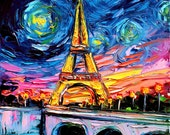 Eiffel Tower Art - Starry Night Giclee print van Gogh Never Saw Eiffel by Aja 8x8, 10x10, 12x12, 20x20, and 24x24 inches choose your size