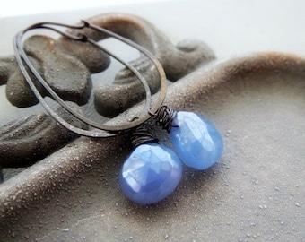 Blue Chalcedony Oval Hoop Earrings