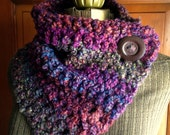 Big Button Scarf Chunky Multicolor Purple Scarf with Wooden Buttons
