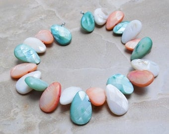 Shell Dyed MOP Teardrop beads