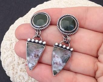 Artisan Enamel and Gemstone Earrings, Metalsmith Forest Green White Ocean Jasper Dangles, Sterling Silver Silversmith  Statement Earrings