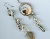 Making a Wish earrings - wishing dandelion wishbone feather star - mismatched earring jewelry designs by Annette - sorcery pagan spells