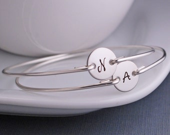 Engraved Bridesmaid Jewelry, FIVE Personalized Custom Sterling Silver Initial Bangle Bracelets