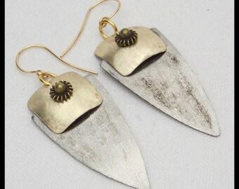 ELEGANT DAGGERS - Handforged German Silver and Bronze Statement Earrings