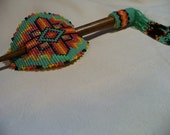 Native American Style Square Stitched Hair Stick Barrette in Zuni Turquoise and Fire colors