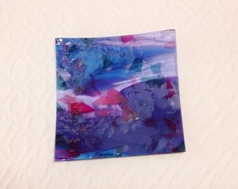 Blue, Pink and Purple Trinket Tray, Summery Fused Glass Plate, Fused Glass Soap Dish, Glass Candy Dish, Garden Party Dish