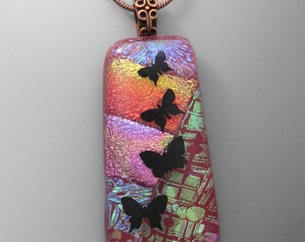 Pink Butterfly Pendant, Fused Glass Butterfly Necklace, Dichroic Fused Glass Pendant -  Butterfly Dance