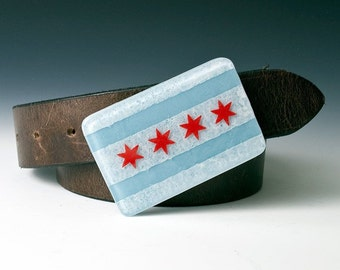 Fused Glass Chicago Flag Buckle