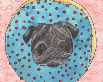 Funny Animal Art, Donut Pug Dog Art, Whimsical Animal Art, Donut Decor Gifts, Pug Life Gifts, Pug Watercolor Wall Art Illustration, Tiny Art