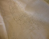 vintage stamped linen to embroider 3 piece buffet set