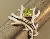 Peridot Antler 2 Set. sterling silver antler ring,alternative engagement ring, twig ring,welo Opal ring,Ethiopian opal twig ring,antler ring