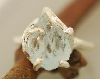 Free form Branchy Aquamarine Ring, Raw  Aquamarine, Rough Stone Ring, Twig Ring,
