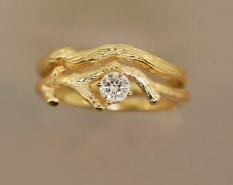 Moissanite Gold Bud Branch Set,twig ring,engagement ring,stone twig ring,branch ring
