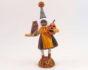 READY TO SHIP Vintage Inspired Spun Cotton Miss Autumn Figure Ooak