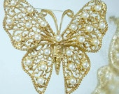 Large Faux Pearl Lacy Butterfly Pin Elegant Vintage