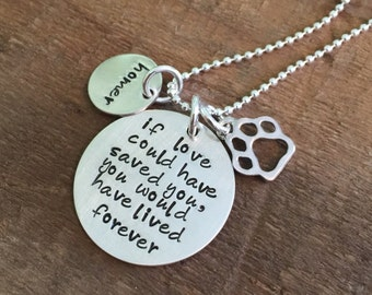 Pet memorial necklace-loss of a pet-stamped pet lovers necklace