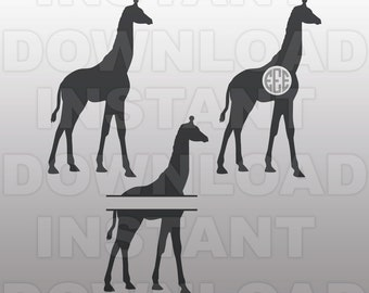 Giraffe SVG File,Monogram SVG,Zoo Animal SVG,Cutting Template-Vector Clip Art for Commercial & Personal Use-Cricut,Cameo,Silhouette,Cut File