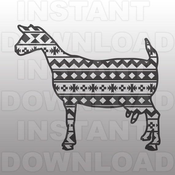 Download Goat Livestock Show 4-H FFA Aztec Pattern SVG File cricut