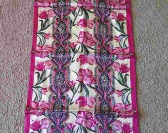 Adrienne Vittadini Vintage Silk Scarf Japan Floral Pinks Oblong EUC