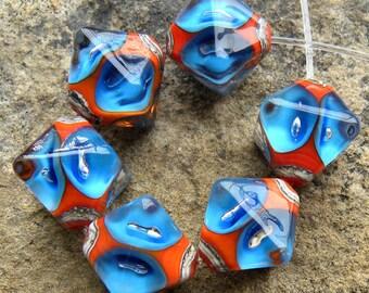 Blue and Orange Poked Dots - Set of 6 Crystal Bi-Cone SRA Lampwork Beads