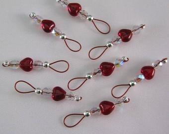 Garnet Heart Stitch Markers on Brick Red Wire - US 5 - Item No. 698