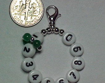 Green Jade Removable 10 Row Counter Stitch Marker- Item No. 729