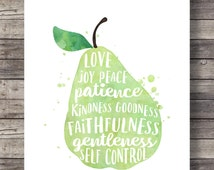 Galatians 5:22 | The Fruit of the Spirit | Pear watercolor | typography Scripture print | Instant download| Bible verse wall art