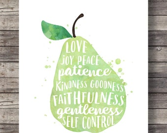 Galatians 5:22 | Fruit of the Spirit | Pear watercolor | typography Scripture print | Printable | fruit art print | Bible verse wall art