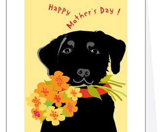 Happy Mothers Day greeting card black lab with flower bouquet